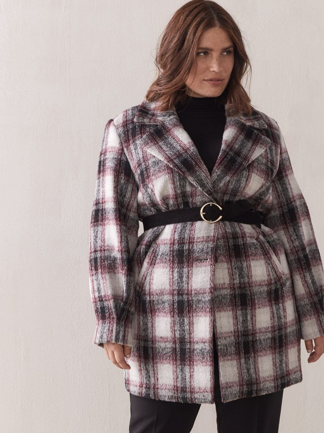 Manteau cocon mi-long tartan