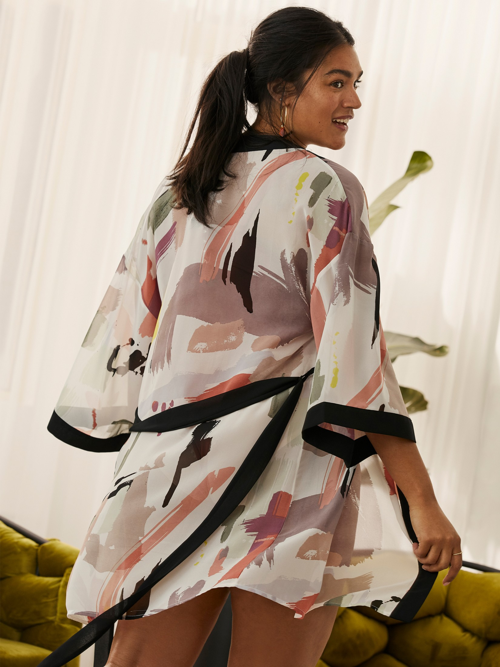 Contrast Printed Lounge Robe - Addition Elle